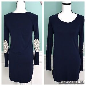 VANILLA BAY TUNIC TOP NAVY BLUE ELBOW PATCHES